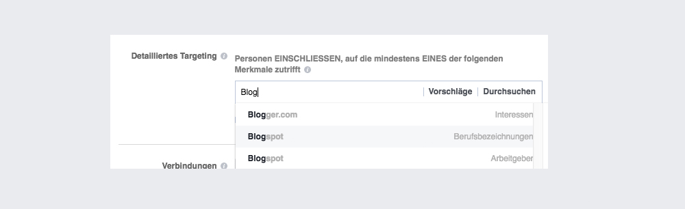 Facebook Ads Zielgruppen Detailed Targeting