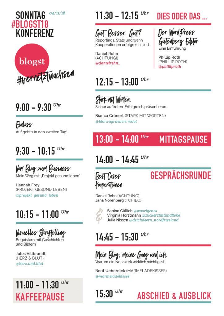 Programm Blogst 2018 Sonntag